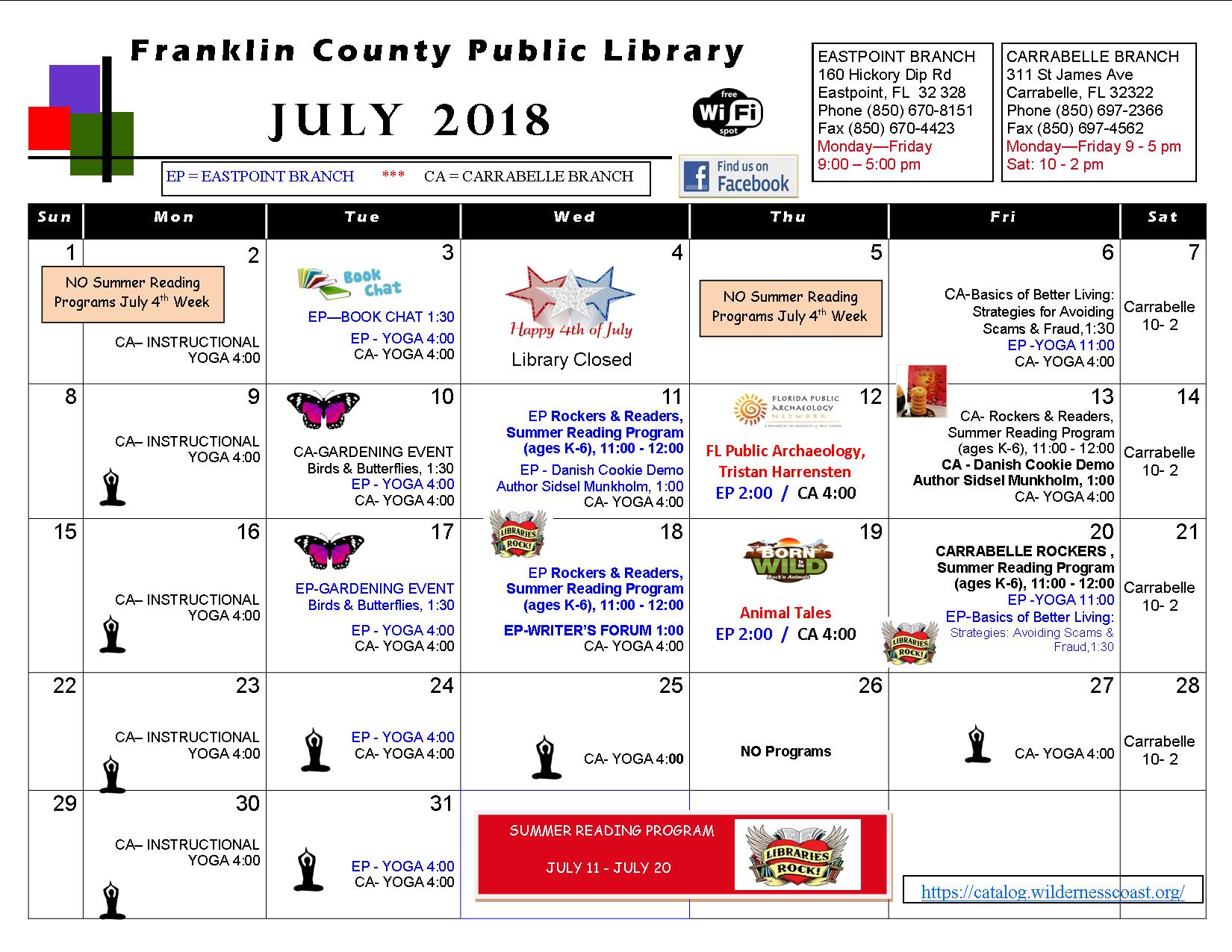 fcpl july 2018 calendar of events